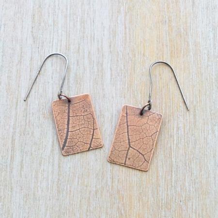 Handmade Copper Leaf Imprinted Earrings